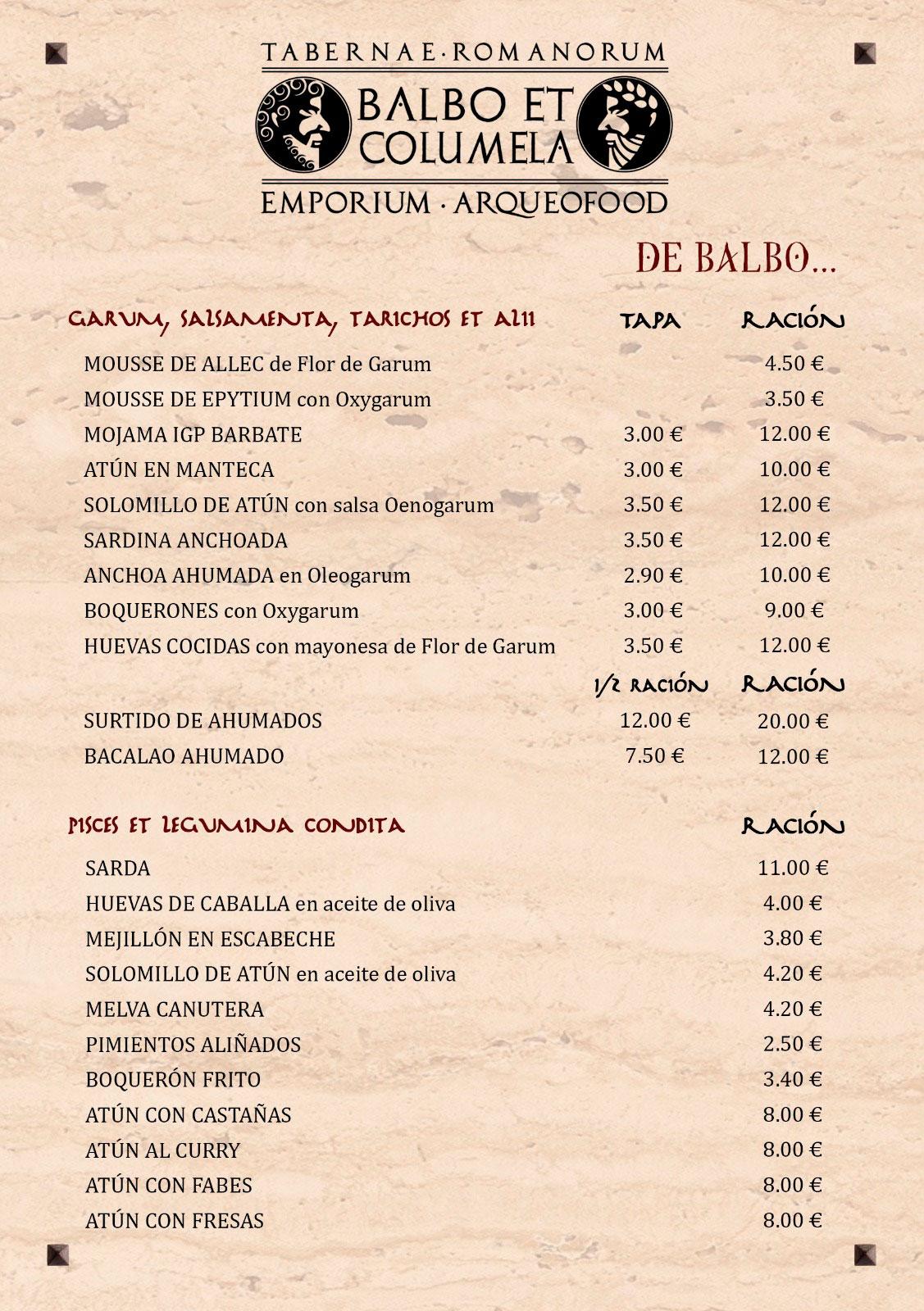 Balbo et Columela Carta Taberna 01 Arqueogastronomía